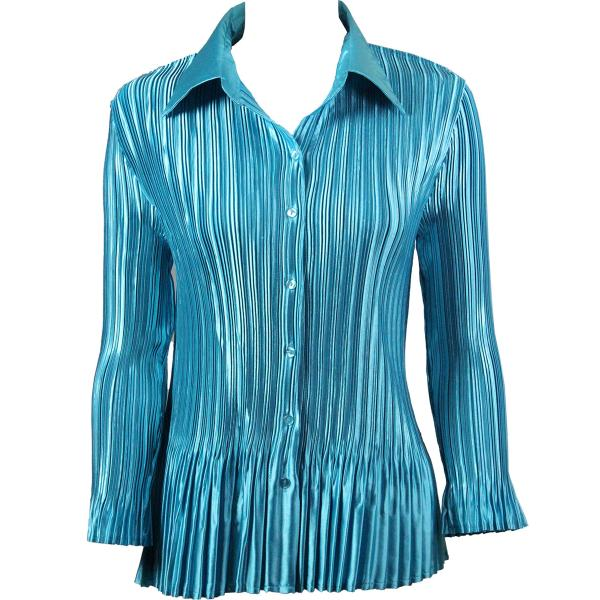 wholesale Satin Mini Pleats - Blouse Solid Aqua Satin Mini Pleat - Blouse - One Size (S-XL)