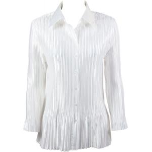 wholesale Satin Mini Pleats - Blouse Solid White - One Size (S-XL)