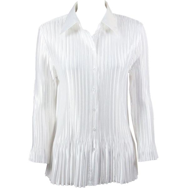 wholesale Satin Mini Pleats - Blouse Solid White Satin Mini Pleat - Blouse - One Size (S-XL)