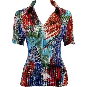 Wholesale  Abstract Blue-Red Satin Mini Pleat - Half Sleeve with Collar - One Size (S-XL)