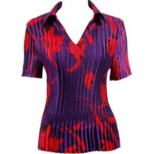 Wholesale  Red Tulips on Purple Satin Mini Pleats - Half Sleeve with Collar - One Size (S-XL)