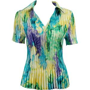 Wholesale  Blue-Purple-Yellow Watercolors Satin Mini Pleat - Half Sleeve with Collar - One Size (S-XL)