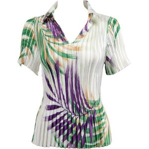 Wholesale  Palm Leaf Green-Purple Satin Mini Pleat - Half Sleeve with Collar - One Size (S-XL)