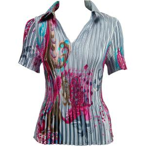 Wholesale  Red Swirl on Silver Satin Mini Pleat - Half Sleeve with Collar - One Size (S-XL)