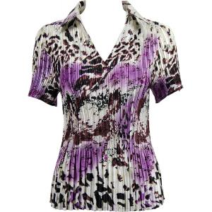 Wholesale  Reptile Floral - Purple Satin Mini Pleat - Half Sleeve with Collar - One Size (S-XL)