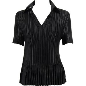 Wholesale  Solid Black Satin Mini Pleat - Half Sleeve with Collar - One Size (S-XL)
