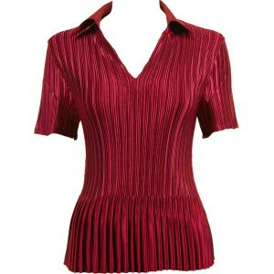 Wholesale  Solid Wine Satin Mini Pleat - Half Sleeve with Collar - One Size (S-XL)