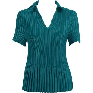 Wholesale  Solid Dark Turquoise Satin Mini Pleat - Half Sleeve with Collar - One Size (S-XL)