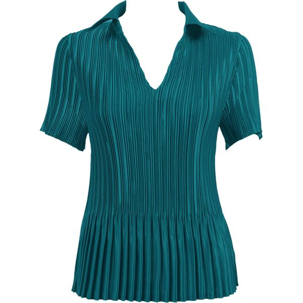 Wholesale Satin Mini Pleats - Half Sleeve V-Neck Solid Dark Turquoise Satin Mini Pleat - Half Sleeve with Collar - One Size (S-XL)