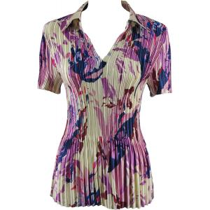 Wholesale  Abstract Floral Raspberry-Navy Satin Mini Pleat - Half Sleeve with Collar - One Size (S-XL)