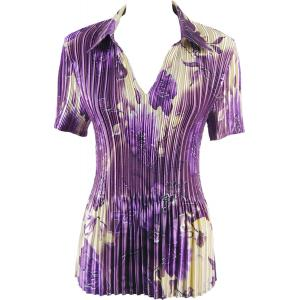 Wholesale  Rose Floral - Purple Satin Mini Pleat - Half Sleeve with Collar - One Size (S-XL)