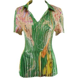 Wholesale  Swirl Green-Gold Satin Mini Pleat - Half Sleeve with Collar - One Size (S-XL)