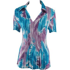 Wholesale  Turquoise-Purple Watercolors Satin Mini Pleat - Half Sleeve with Collar - One Size (S-XL)