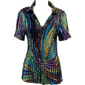 Wholesale  Psychedelic Swirl Satin Mini Pleat - Half Sleeve with Collar - One Size (S-XL)
