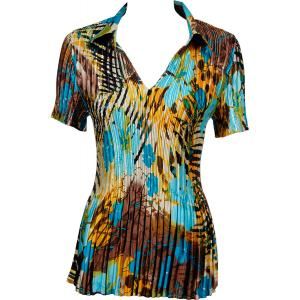 Wholesale  Jungle Floral - Turquoise Satin Mini Pleat - Half Sleeve with Collar - One Size (S-XL)