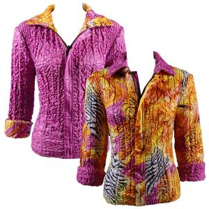 wholesale Quilted Reversible Jackets Abstract Zebra Orange-Pink reverses to Solid Orchid - S-L