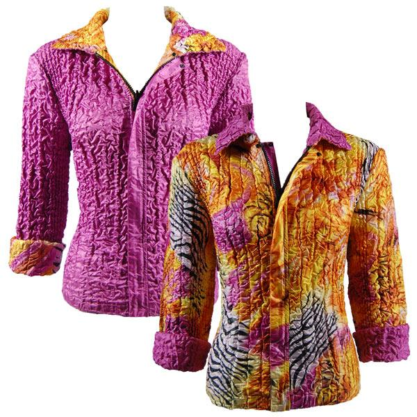 Quilted Reversible Jackets Abstract Zebra Orange-Pink reverses to Solid Orchid - S-L