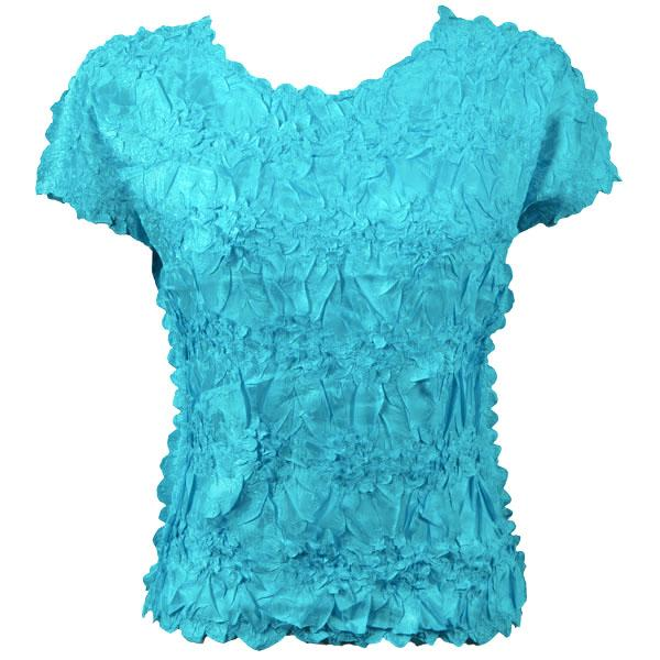 wholesale Origami - Cap Sleeve Solid Turquoise - Queen Size Fits (XL-3X)