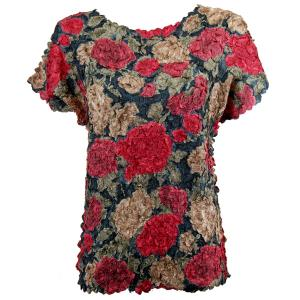 Wholesale  Burgundy Floral Petal Shirt - Cap Sleeve - One Size (S-XL)