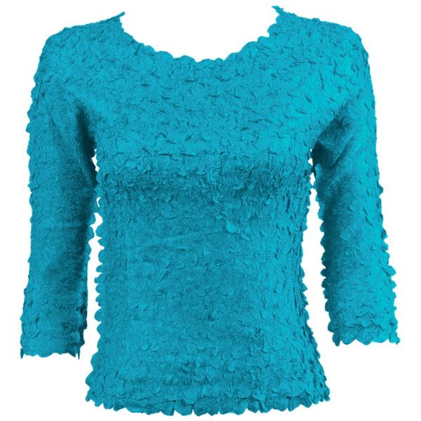 wholesale Petal Shirts - Three Quarter Sleeve Solid Turquoise - One Size (S-XL)