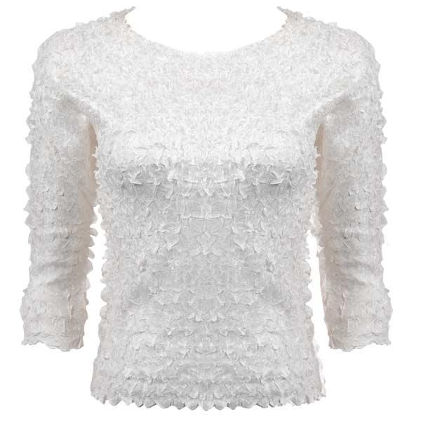 wholesale Petal Shirts - Three Quarter Sleeve Solid White - One Size (S-XL)