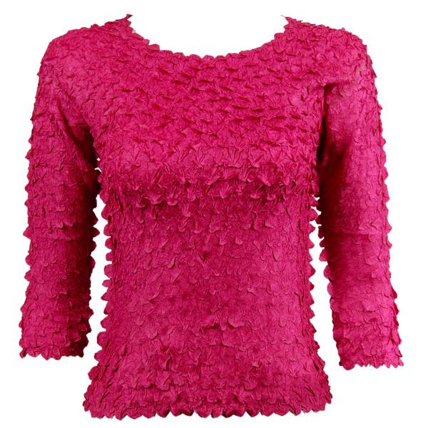 wholesale Petal Shirts - Three Quarter Sleeve Solid Pink - Queen Size Fits (XL-3X)