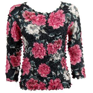 wholesale Petal Shirts - Three Quarter Sleeve Pink Floral - Queen Size Fits (XL-3X)