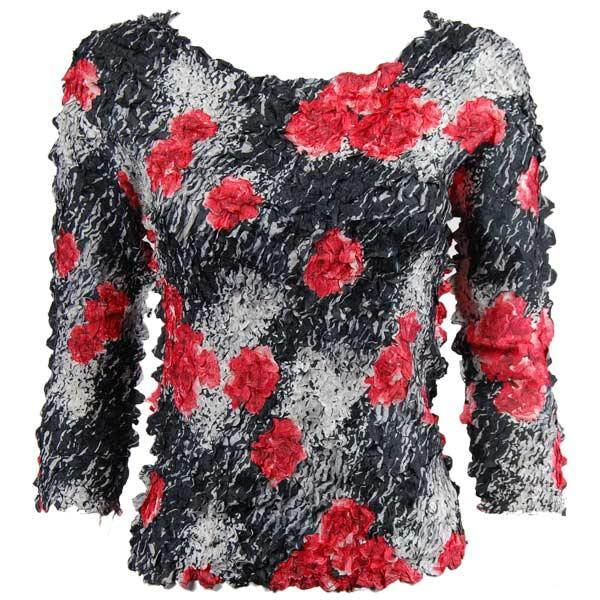 wholesale Petal Shirts - Three Quarter Sleeve Spray of Roses - Queen Size Fits (XL-3X)
