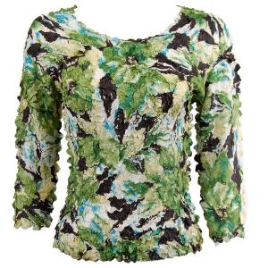 wholesale Petal Shirts - Three Quarter Sleeve Tropical Green - Queen Size Fits (XL-3X)