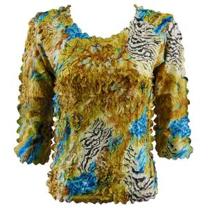 wholesale Petal Shirts - Three Quarter Sleeve Abstract Zebra Gold-Blue - One Size (S-XL)