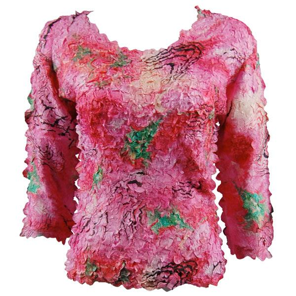 wholesale Petal Shirts - Three Quarter Sleeve Abstract Pink-Red - Queen Size Fits (XL-3X)