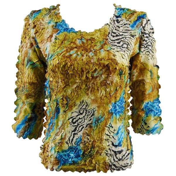 wholesale Petal Shirts - Three Quarter Sleeve Abstract Zebra Gold-Blue - Queen Size Fits (XL-3X)