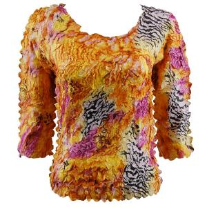 wholesale Petal Shirts - Three Quarter Sleeve Abstract Zebra Orange-Pink - Queen Size Fits (XL-3X)