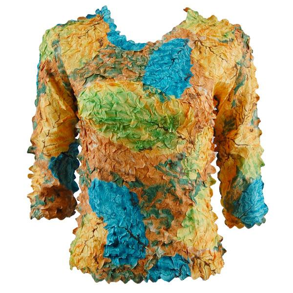 wholesale Petal Shirts - Three Quarter Sleeve Leaves Turquoise-Green-Copper - Queen Size Fits (XL-3X)