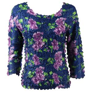 wholesale Petal Shirts - Three Quarter Sleeve Navy with Purple Flowers - One Size (S-XL)
