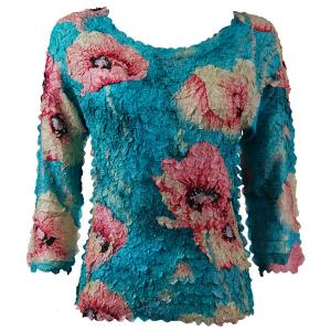 wholesale Petal Shirts - Three Quarter Sleeve Poppies - Aqua - One Size (S-XL)