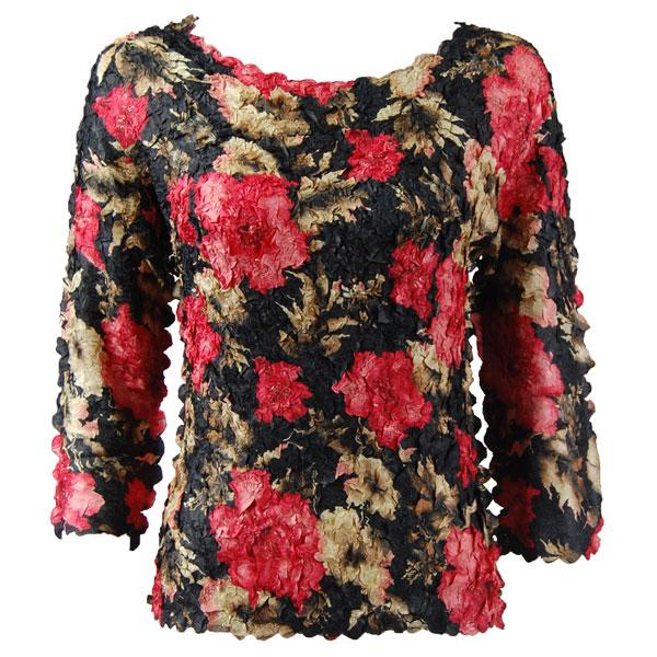 wholesale Petal Shirts - Three Quarter Sleeve Coral Blossoms on Black - One Size (S-XL)