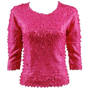 wholesale Petal Shirts - Three Quarter Sleeve Solid Hot Pink - One Size (S-XL)