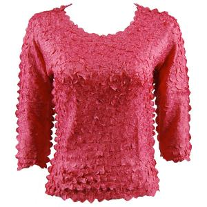 wholesale Petal Shirts - Three Quarter Sleeve Solid Coral - Queen Size Fits (XL-3X)