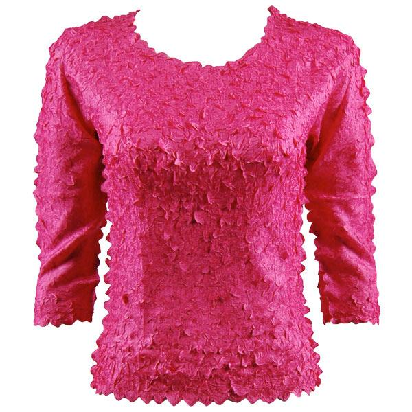 wholesale Petal Shirts - Three Quarter Sleeve Solid Hot Pink - Queen Size Fits (XL-3X)