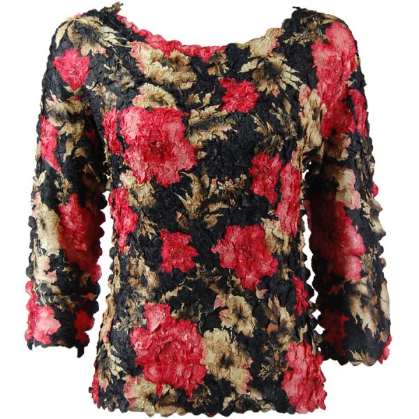wholesale Petal Shirts - Three Quarter Sleeve Coral Blossoms on Black - Queen Size Fits (XL-3X)