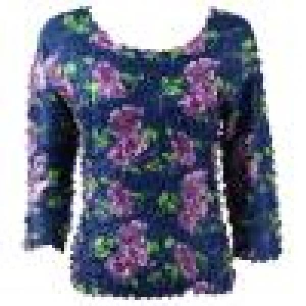wholesale Petal Shirts - Three Quarter Sleeve Navy with Purple Flowers - Queen Size Fits (XL-3X)