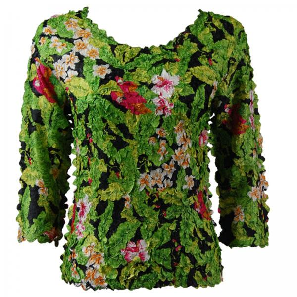 wholesale Petal Shirts - Three Quarter Sleeve Tropical Floral - Green - Queen Size Fits (XL-3X)
