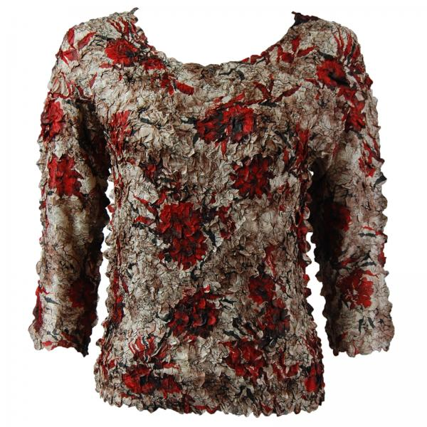 wholesale Petal Shirts - Three Quarter Sleeve Crimson-Taupe Floral - Queen Size Fits (XL-3X)