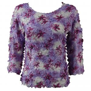 wholesale Petal Shirts - Three Quarter Sleeve Multi Purple Flowers - Queen Size Fits (XL-3X)
