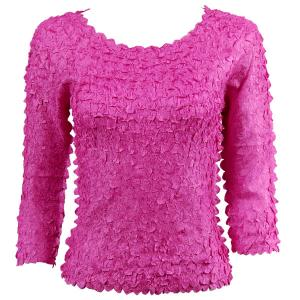 wholesale Petal Shirts - Three Quarter Sleeve Solid Fuchsia - Queen Size Fits (XL-3X)