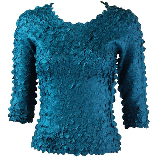 wholesale Petal Shirts - Three Quarter Sleeve Solid Dark Teal Green - One Size (S-XL)