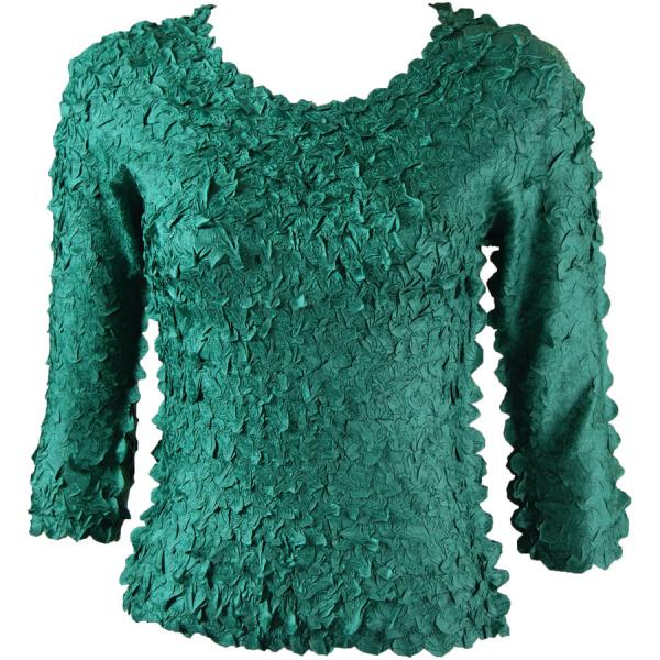 wholesale Petal Shirts - Three Quarter Sleeve Solid Emerald - One Size (S-XL)