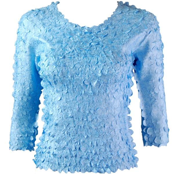 wholesale Petal Shirts - Three Quarter Sleeve Solid Sky Blue - One Size (S-XL)