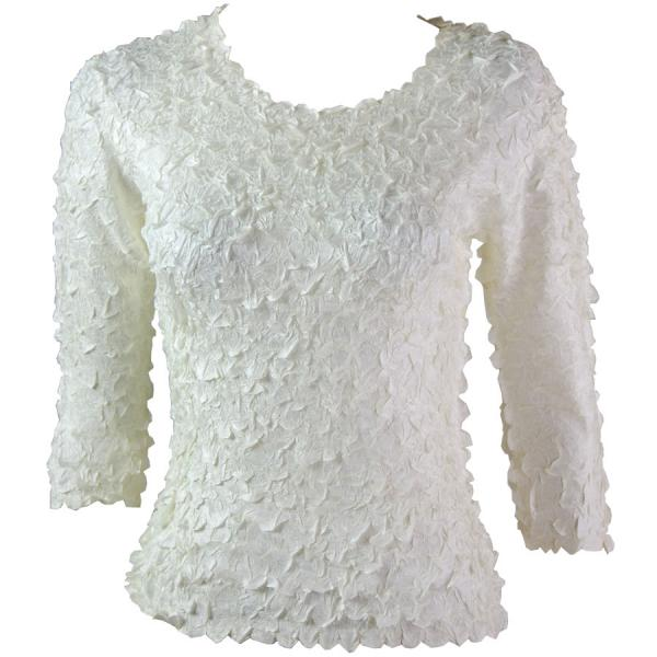 wholesale Petal Shirts - Three Quarter Sleeve Solid Ivory - One Size (S-XL)